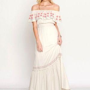 Bohemian cream off shoulder maxi dress